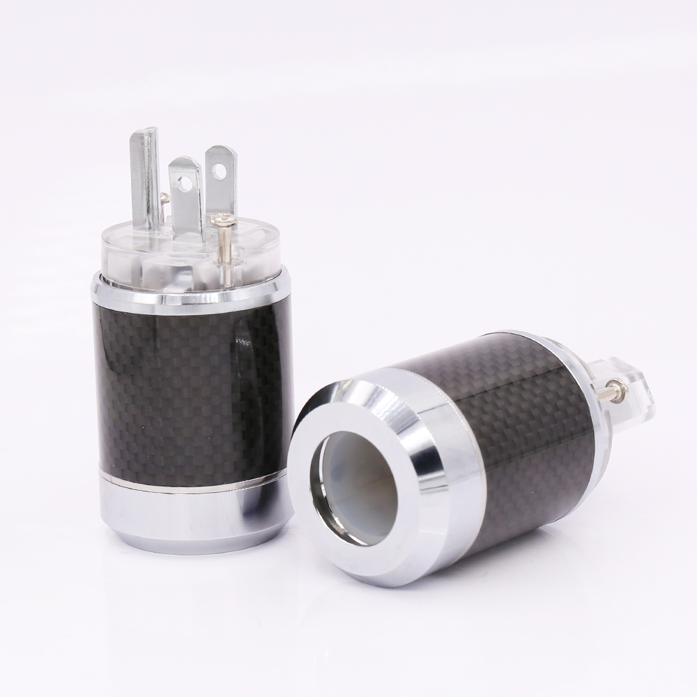 Free shipping Pair Carbon fiber Rhodium Plated US AC Power Plug Connector IEC Plug free shipping one pair rhodium plated us mains power plug carbon fiber connector cable cord