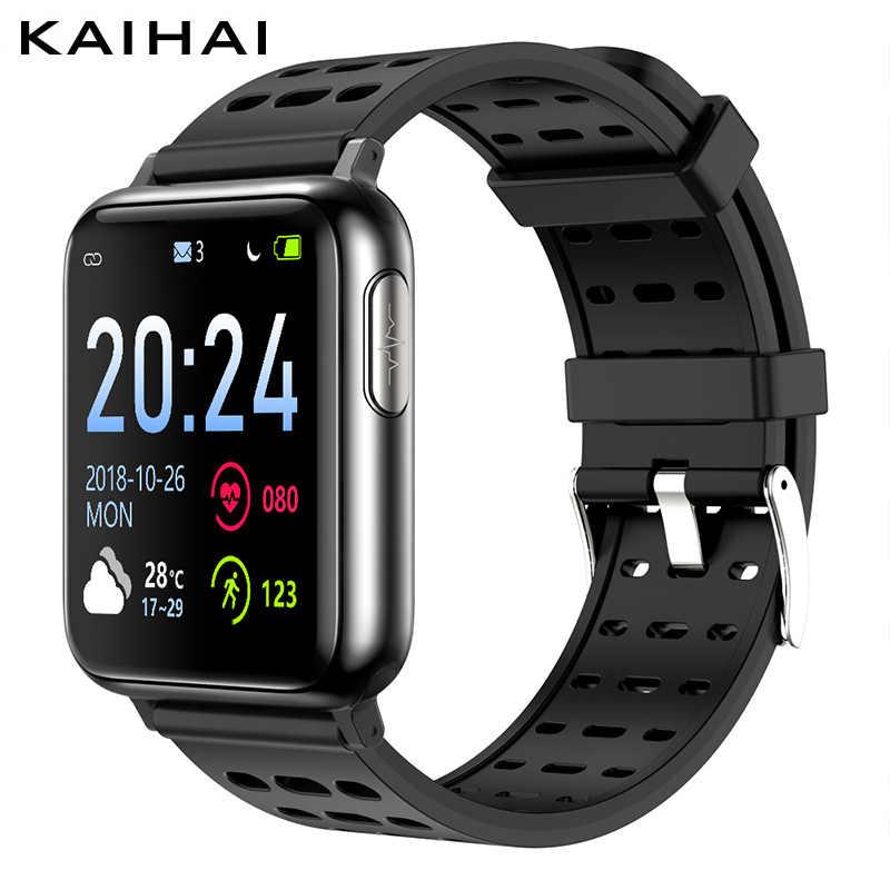 KAIHAI H69 PPG SpO2 ECG VFC atividade rastreador saúde smart watch homens do esporte da aptidão eletrônico pressão arterial medição de oxigênio No Sangue Do Coração monitor de freqüência cardíaca smartwatch relógio des