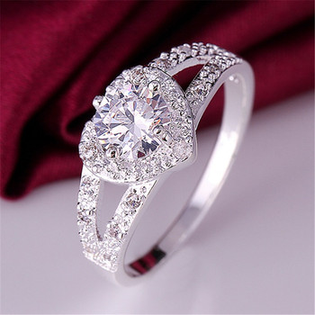 Diamond Heart Silver Ring