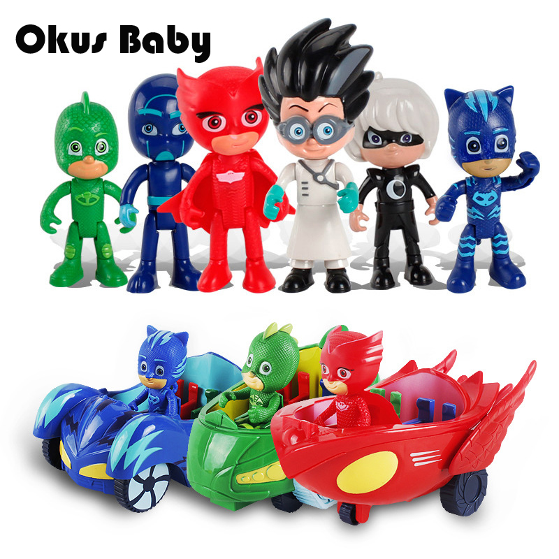 Newest 6pcs/set Hot Anime Figures pj ABS masking Character Catboy Owlette Action Figures Toys Boy Birthday Gift Toy Set pj cartoon pj masks command center car parking toy lot car characters catboy owlette gekko masked figure toys kids party gift