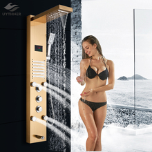 Newly LED Bath Shower Panel Golden Waterfall Rain Shower Column Faucet Digital Temperature Screen Shower System Mixer Tub Spout