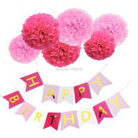 Бесплатная доставка Розовый и Золотой Декор набор Famoby надпись с днем рождения баннер с розовыми и ярко-розовыми помпонами день рождения дек...
