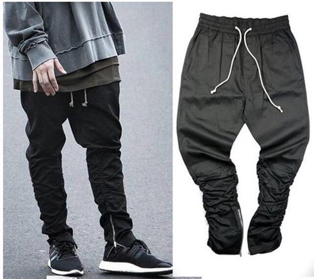 2017 Justin Bieber Fashion Pants Side Zipper Men Slim Fit