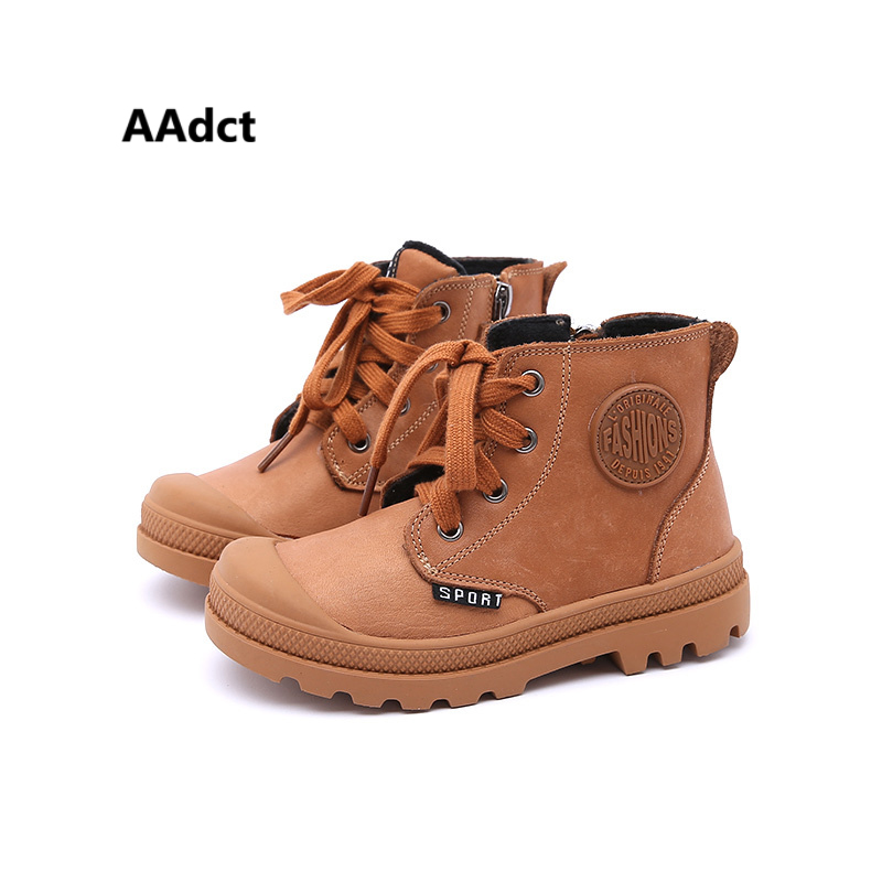 AAdct Genuine leather outdoors boys boots winter cotton warm kids boots for boys Brand High-quality Martin children boots new 2016 winter children genuine leather boots brand boys cotton buckle shoes fashion ankle martin boots for kids