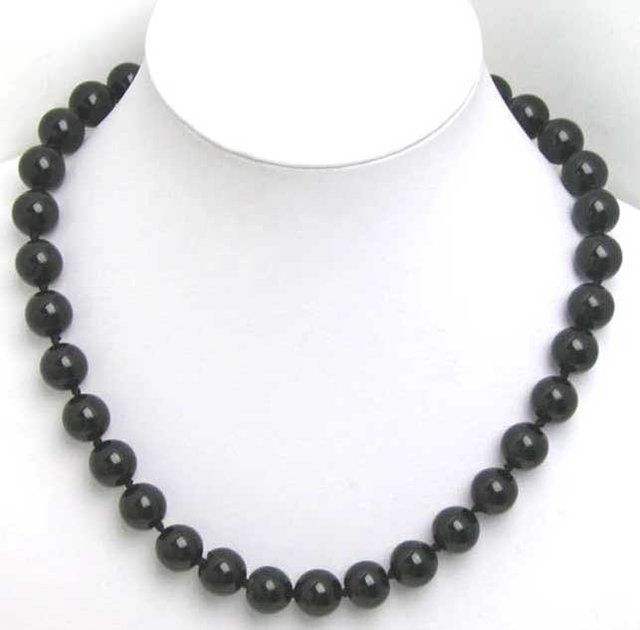 SALE Big 12MM Black round Natural Agate 18 inch Necklace-5132 Wholesale/retail Free shipping