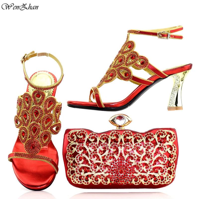 Zapatos italianos juego de bolso de mano a la moda rojo para fiesta de boda tacón alto bombas peep toes Zapatos de vestir y bolso para dama C86 7-in Zapatos de tacón de mujer from zapatos    1