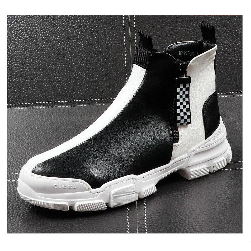 2019 Элитный бренд Для мужчин модные высокие кроссовки черный, белый цвет клетчатый полусапожки Повседневное высокая обувь Для мужчин для от... - 5