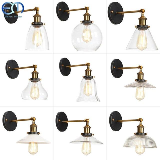 الحديثة خمر الجدار مصباح الزجاج السرير الرجعية الحديد الجدار مصباح العنبر السرير درج أضواء تركيبات إضاءة داخلية RWLC0024