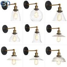 Modern duvar lambası cam başucu Retro demir duvar lambası Amber başucu merdiven ışıkları iç mekan aydınlatması fikstür RWLC0024