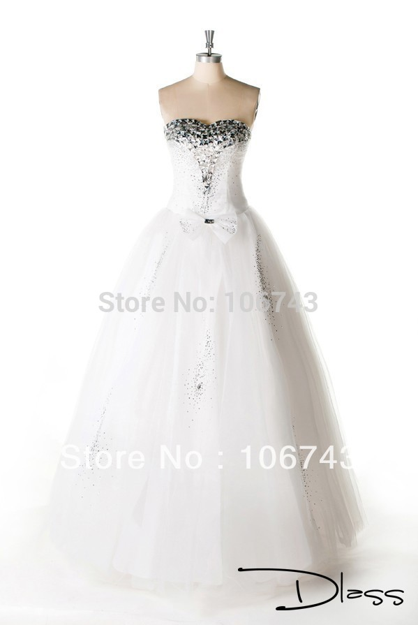 Dress Free Shipping 2016 Real Pictures A-line Silhouette Sweetheart Neckline Beading Wedding Dress With Crystal Embellishment