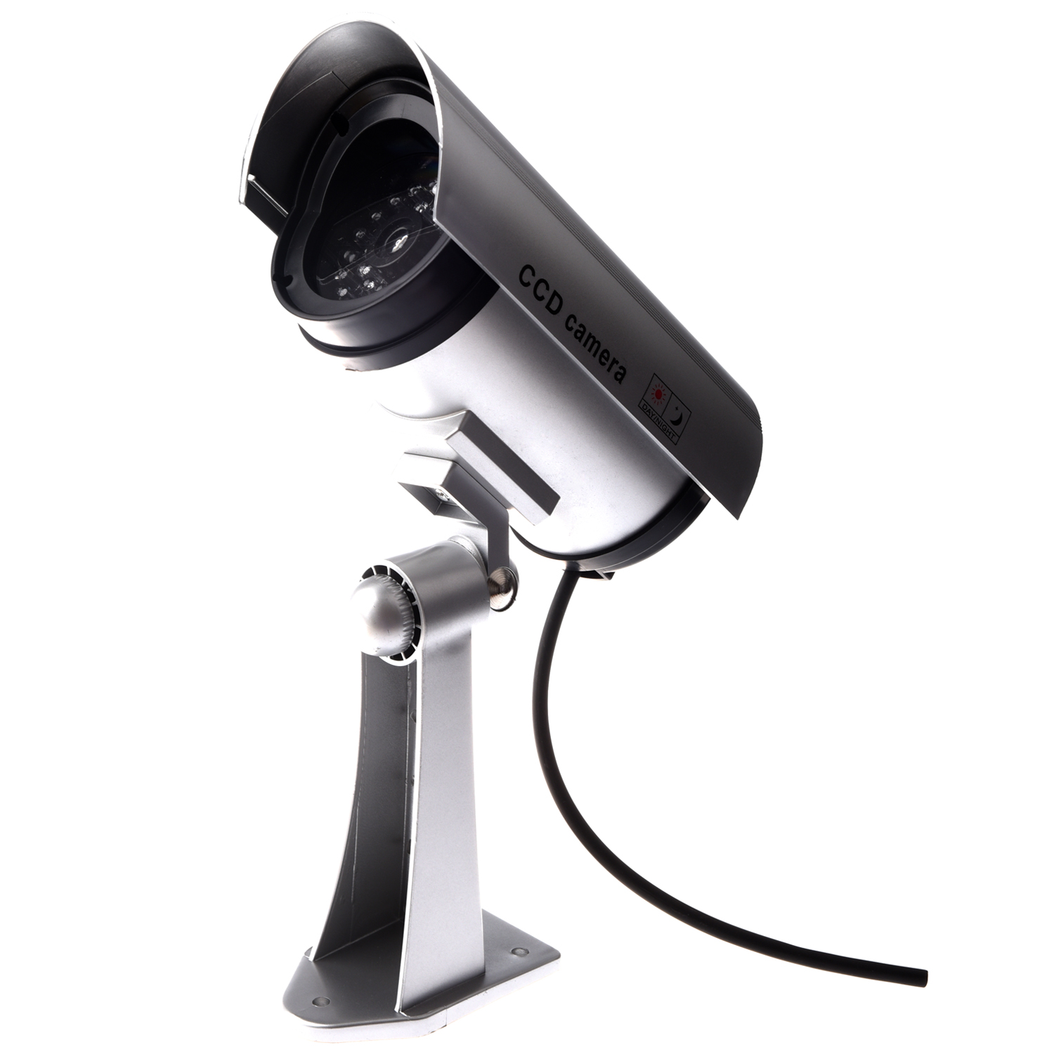 2 Packs OUTDOOR FAKE / DUMMY SECURITY CAMERA w/ Blinking Light (Silver) solar dummy security camera with blinking light silver