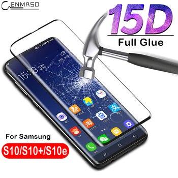 삼성 S10 플러스 유리 스크린 전체 삼성 갤럭시 S10 S10e 강화 유리 15D 전체 접착제