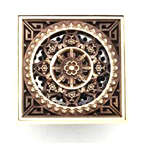 Antique Copper Anti-odor Square Bathroom Accessories Sink Floor Shower Drain Cover Luxury Sewer Filter K-8849 free shipping free shipping deodorant floor waste drain oil rubbed bronze 10cmshower floor cover sink grate