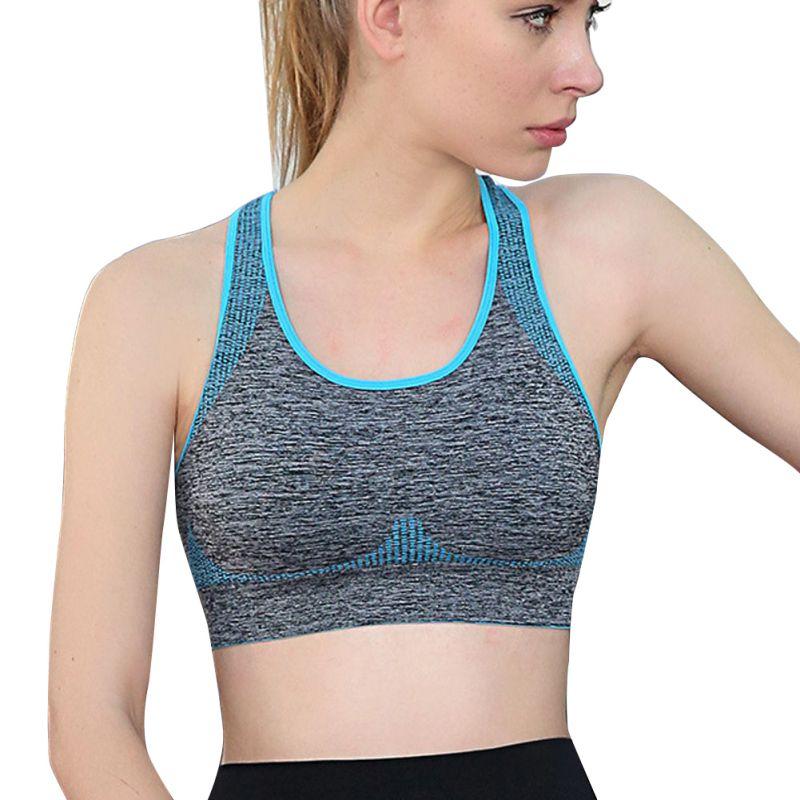 GAGA Womens Workout Padded Racerback Seamless Yoga Sport Bra Blue M