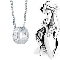 Reale Dell'argento Sterlina 925 Cuore Cerchio di Amore Collane & Pendente per Le Donne Fine Jewelry 2017 Sterling Silver Jewelry Regalo Del Partito