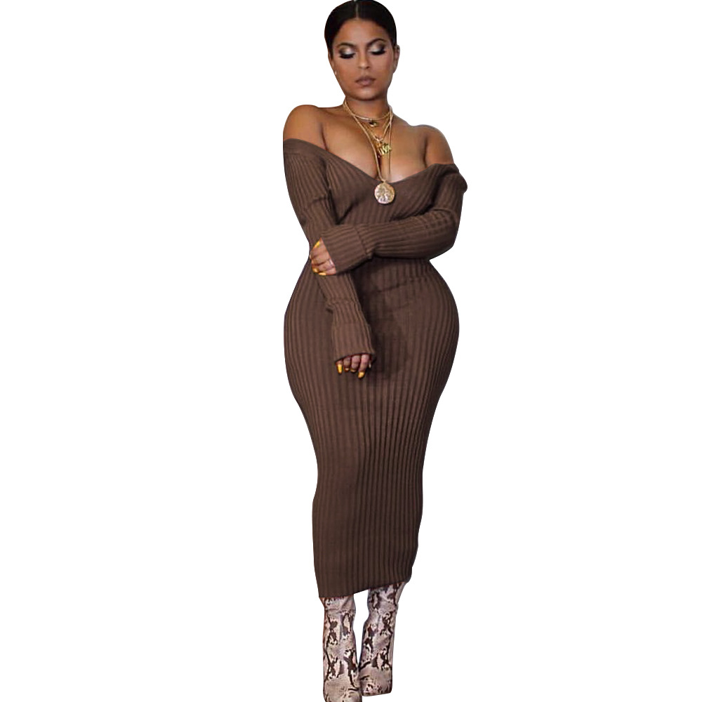 b0fce6847e445 Womens 2019 Autumn Spring Long Sleeve Off Shoulder Pencil Dress Back Slit  Deep V Neck Dresses. US $12.61. Nadafair knitted sweater bodycon long winter  ...