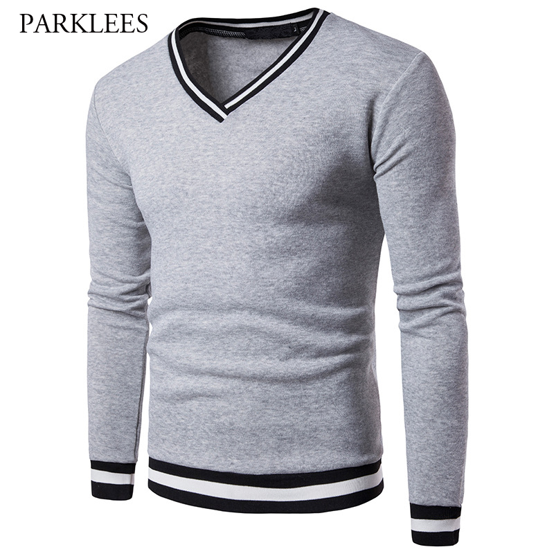 Brand V Neck Sweatshirt Men 2017 Autumn Fashion Rib-knit Cuff Neck Design Mens Sweatshirts Casual Slim Fit Homens Moletom 2XL
