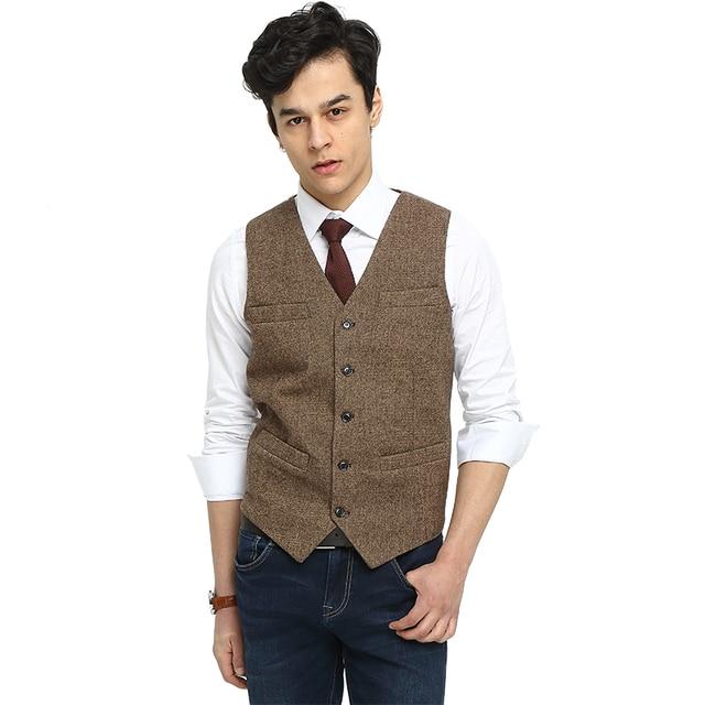Aliexpress.com : Buy 2017 Airtailors Brand Brown Tweed Vest Slim ...