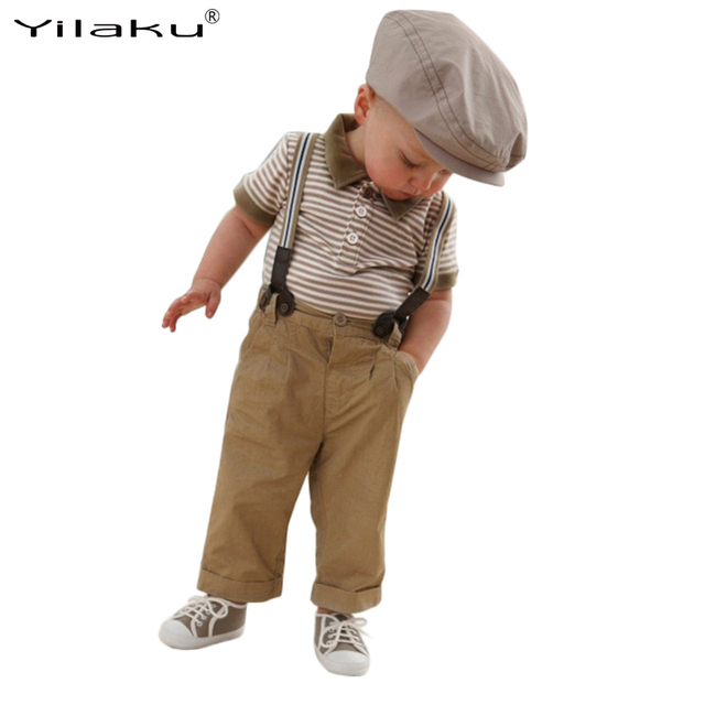 Roupas de bebê Menino Definir Crianças Cavalheiro Se Adapte Conjuntos de Roupas Meninos Verão Listrado T-shirt + Macacão Crianças Roupas 2 ~ 6 Anos CF496
