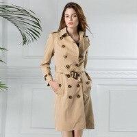 2017 женские тренчи одежда элегантные женские верхняя одежда в британском стиле на осень зиму женщины ветровка одноцветное длинное осеннее п