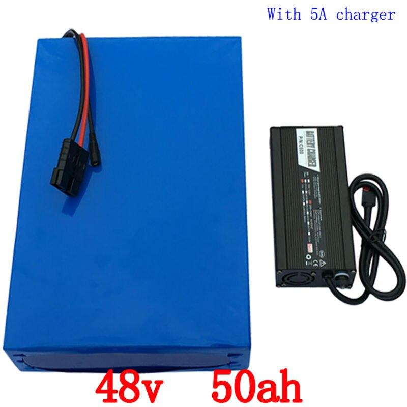 48 v 50ah 48 48 v 50ah bateria de iões de Lítio bicicleta elétrica da bateria v 2000 w bateria De Lítio com 50A carregador + BMS 54.6 v 5A duty free