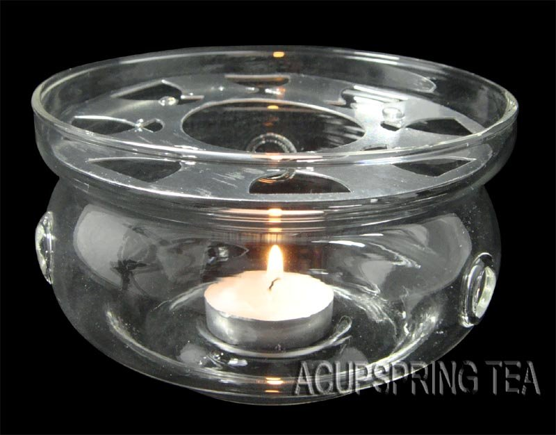 Clear Glass Tealight Warmer + 1 small candle,Suitable for 500ml-1200ml teapot, Free Shipping