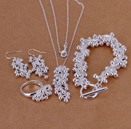 Frete Grátis 925 Sterling Silver Set, 925 Colar de prata Esterlina & Bracelet & Brincos & Rings Set. Wholesale moda Jóias T159