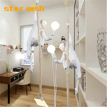 Star wish Hemp Rope Monkey  Pendant Light  Art  Nordic Replicas Resin Hanging Monkey Lamp for shop bar decoration - DISCOUNT ITEM  28% OFF All Category