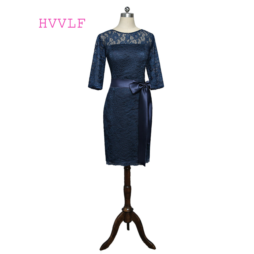 Navy Blue 2019 Mother Of The Bride Dresses Sheath 3/4 Sleeves Lace Bow Plus Size Short Formal Groom Mother Dress For Wedding