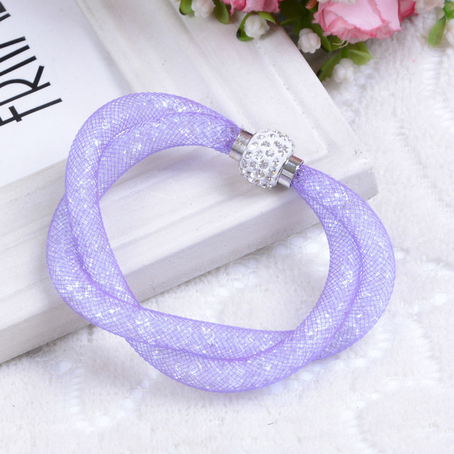 Hot sale Rhinestone Mesh Double Bracelets With Crystal stones Filled Magnetic Clasp Charm Bracelets Bangles
