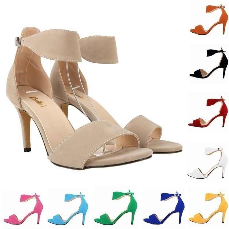 קיץ נשים אבזם רצועת סנדלי ריקוד קלאסי גבוהה סנדלי עקבים סקסי פגיון מסיבת חתונה משאבות Shoes107-2VE