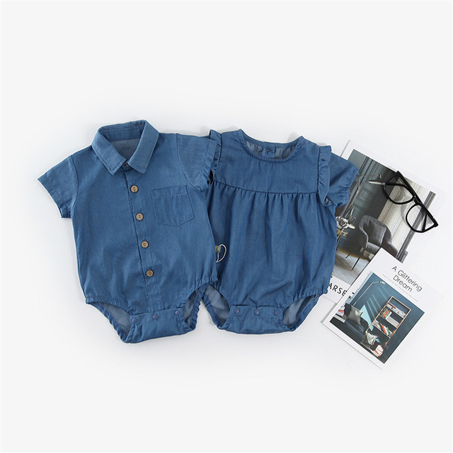 9c669b9564af Newborn Baby Boy Girl Romper Clothes Short Sleeves Denim Clothes ...