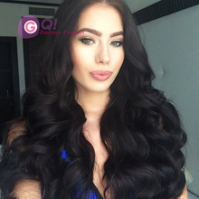 GQ Glueless full Lace front Wig natural wave virgin brazilian full lace human hair wigs for black women lace front wig baby hair