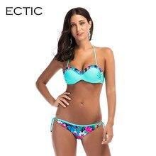 Print Floral Cintura Baixa Maiô Empurrar Para Cima do Biquíni Mulheres Swimwear Underwire Biquini Transporte da gota