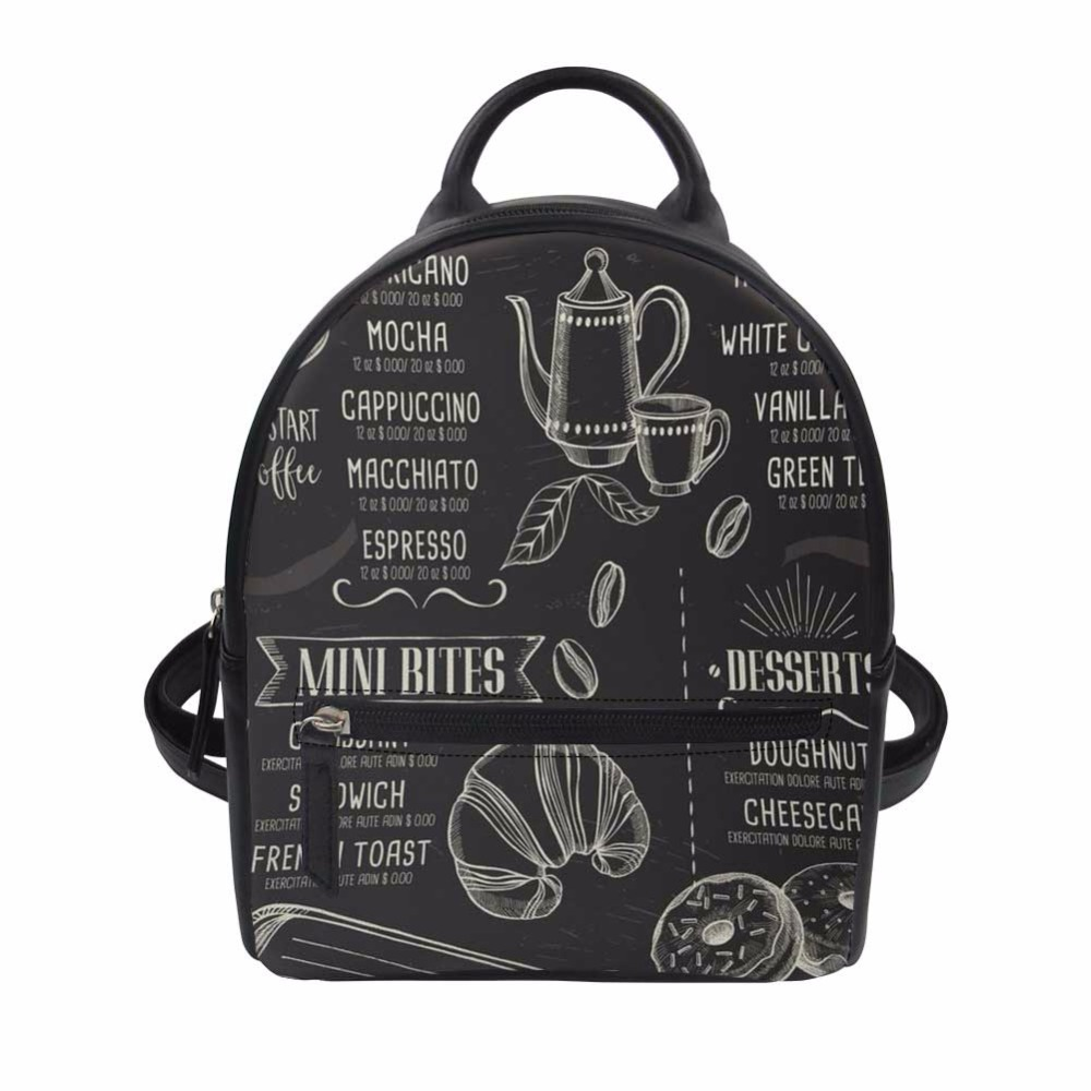 Luggage & Bags Sweet-Tempered Noisydesigns Women Pu Leather Backpack Design Of Coffee Black Print Mini Rucksack Campus Daily Daypack Teenager Girls Travel