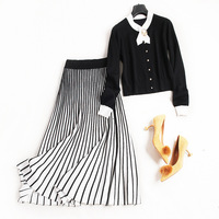 Women Fashion Pleated Striped Elegant Long Skirt Knitted Autumn Winter Skirts With Beading Cardigentops New 2017
