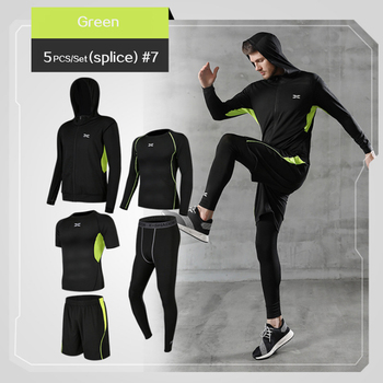 5 Pcs/Set Men's Tracksuit Gym Fitness Compression Sports Suit Clothes Running Jogging Sport Wear Exercise Workout Tights 9