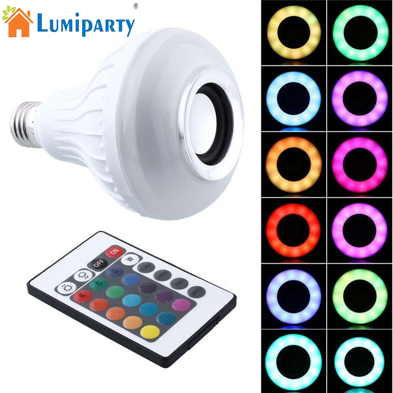 LumiParty E27 Smart RGBW Wireless Bluetooth Speaker Bulb Music Playing Dimmable LED Bulb Light Lamp with 24 Keys Remote Control smuxi e27 led rgb wireless bluetooth speaker music smart light bulb 15w playing lamp remote control decor for ios android