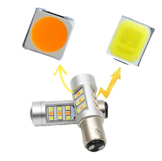 2pcs High Power 33SMD 1157 BAY15D T20 7443 T25 3157 White Amber Dual-Color Switchback LED Bulbs For Front Turn Signal