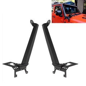 """Image 1 - Barre lumineuse de travail, 52 """"LED, support supérieur en acier, pour le pare brise, avec supports dangle inférieurs, pour Jeep Wrangler JL 2018, 2019 et plus"""