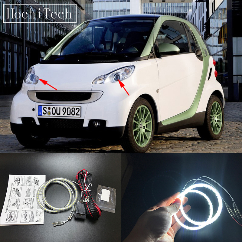 HochiTech Ultra bright SMD white LED angel eyes 1500LM halo ring kit daytime light DRL for Smart Fortwo W451 Mk2 2008 - 2014 2 white led licence number plate light canbus error free 07 15 smart fortwo w451 ca238 page 2 page href