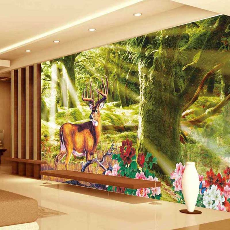 Popular deer wall paper buy cheap deer wall paper lots for Deer mural wallpaper