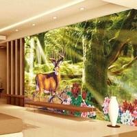 2016 Vintage Deer Painted Wallpaper Modern Natural Art 3D Effect Mural Wall Paper For Walls,Living room Background Covering #15