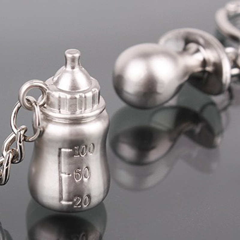 Metal Pacifier and Feeding Bottle Key Chain Keychain Key Ring Favors Baby Shower Souvenirs Party Gifts Giveaways ZA1938