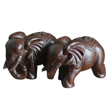 1 Pair of 6cm Wood Elephant Animal Miniature Home Decor