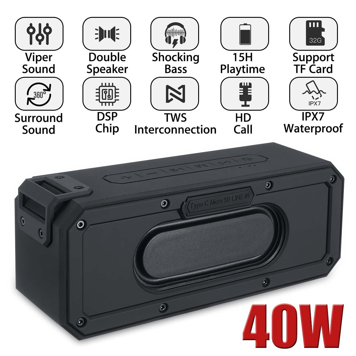 40W Stereo Subwoofer Bluetooth Speaker Bass IP7X Waterproof Column USB Wireless Portable Boombox Outdoor Home Theater Sound Box