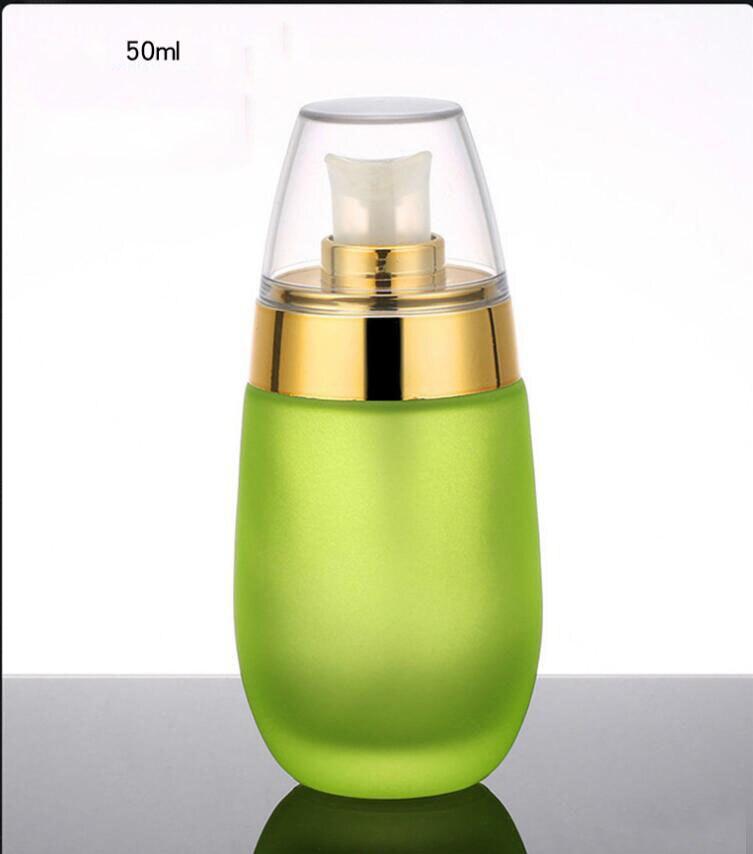 Skin Toner Suit Empty Bottle Silver Gold Carved lid Green Emulsion Bottle Glass Cream Lotion Pump 30ml 50ml 120ml 30g 50g (15)