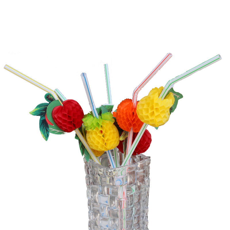 FHEAL 50pcslot 3D Fruit Flexible Plastic Cocktail Drinking Straws Summer Ice Drink Straw Hawaiia Party Decor Supplies Bar Tool (1)