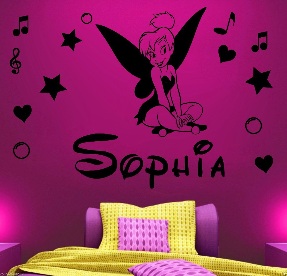 Customer Made Diy Tinkerbell Name Art Decal Kids Wall Sticker Children Girls Home Decoration Decor You Choose Name And Color