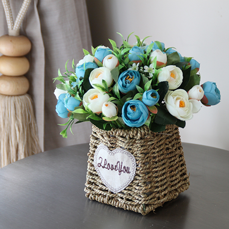 Artificial flowers roses bud Bonsai set artificial Silk flower Ceramic Weave basket vases home wedding decoration accessories